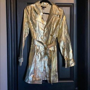 Gold leather trench coat